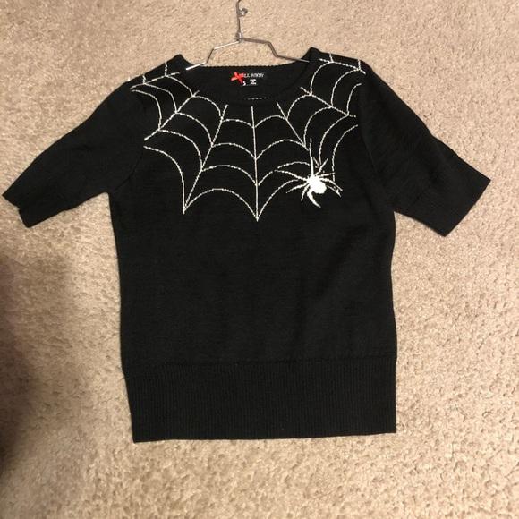 Hell Bunny Black Widow Sweater spider web </div>                                   </div> </div>       </div>                  <div style=